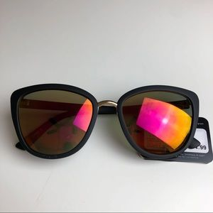 Foster Grant Sunglasses Black Mirrored Orange Pink